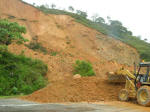 Clearing a landslide on the road to Bogota