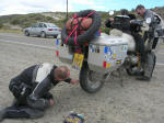 Fritz doing a little light puncture repair near Comodoro Rivadavia